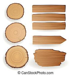 vetorial, madeira, material, elementos