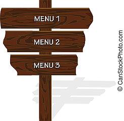 vetorial, madeira, menu