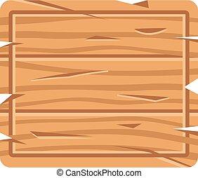 vetorial, madeira, signboard., ilustração, madeira, signage, board., retângulo