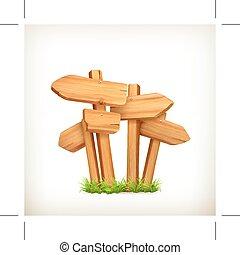 vetorial, madeira, sinais