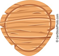 vetorial, madeira, sinal., ilustração, madeira, board., redondo