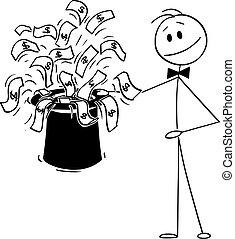 vetorial, magia, homem negócios, vinda, mágico, caricatura, pretas, grande, chapéu, ilustração, topo, dinheiro, contas
