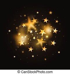 vetorial, magia, stars., obscurecido, ouro, fundo