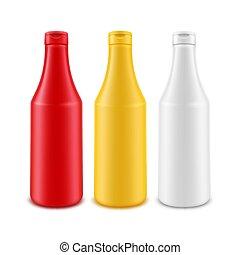 vetorial, maionese, jogo, mostarda, garrafa, isolado, amarela, plástico, sem, fundo, em branco, marcar, branca, etiqueta, ketchup, vermelho