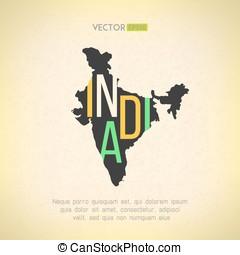 vetorial, mapa, corte, grunge, vindima, movimento, índia, experiência., indianas, fácil, não, letras, borda, design.