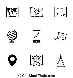 vetorial, mapa, jogo, pretas, ícones