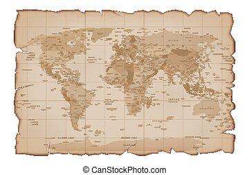vetorial, mapa, papel, antigas