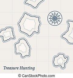 vetorial, mapa, tesouro, fundo