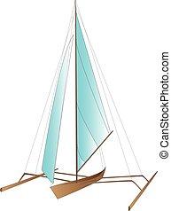 vetorial, mar, bote
