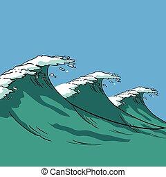 vetorial, mar, ondas