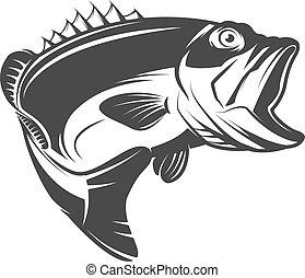 vetorial, mark., ícone, emblema, isolado, sinal, marca, branca, elemento, peixe, logotipo, desenho, baixo, ilustração, experiência.