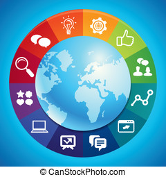 vetorial, marketing, conceito, internet