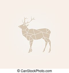 vetorial, marrom, deer., baixo, poly