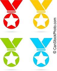 vetorial, medalha, distinção