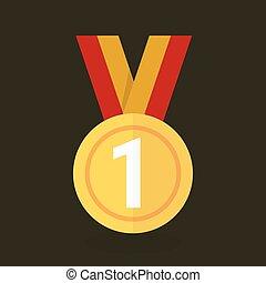 vetorial, medalha, ouro, ícone
