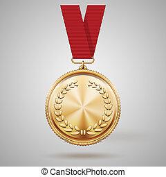 vetorial, medalha ouro, ligado, fita vermelha