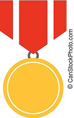 vetorial, medalha, prêmio, ouro, ícone