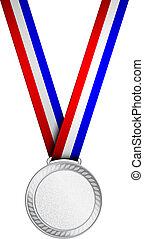 vetorial, medalha, prata, ilustração