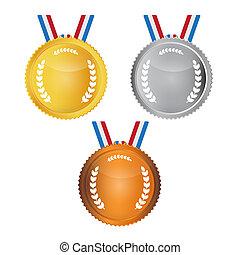 vetorial, medalhas, jogo, isolado, branco, fundo