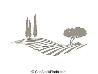 vetorial, mediterrâneo, paisagem
