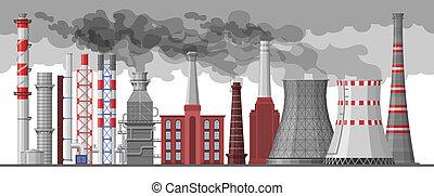 vetorial, meio ambiente, industrial, fumaça, chimneyed, indústria, fábrica, ilustração, ar, cano, tóxico, jogo, fundo, cityscape, branca, chaminé, poluição