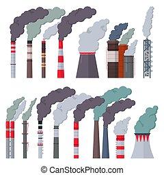 vetorial, meio ambiente, industrial, fumaça, chimneyed, indústria, isolado, ilustração, fábrica, cano, jogo, fundo, tóxico, branca, ar, chaminé, poluição