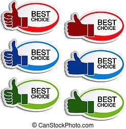 vetorial, melhor, escolha, oval, adesivos, com, gesto, mão
