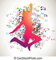 vetorial, menina, e, notas música