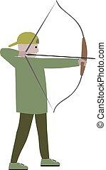 vetorial, menino, arqueiro, bow., ilustração