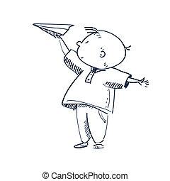 vetorial, menino, avião, ilustração