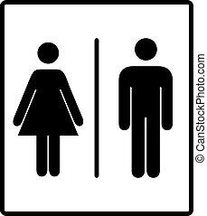 vetorial, mens, e, womens, incapacitado, restroom, signage,...