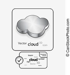 vetorial, metal, 3d, nuvem, ícone