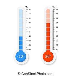 vetorial, meteorologia, termômetros, celsius, fahrenheit, jogo