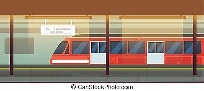vetorial, metro, trem, ilustração, estação, metrô, interior, vazio