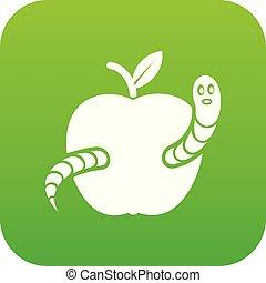 vetorial, minhoca verde, maçã, ícone