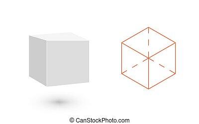 vetorial, minimalista, cubo, arte, bodies., sólido, figure.,...