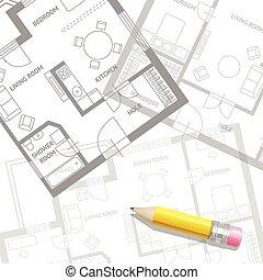 vetorial, mobília, plano arquiteto, fundo, apartamento,...