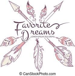 vetorial, moda, cartaz, setas, americano, apache, boho, penas, hipster, indianas