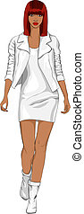 vetorial, moda, menina preta, em, um, branca, couro, paleto