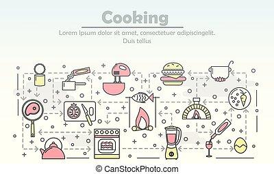 vetorial, modelo, bandeira, cozinhar, linha magra, arte, cartaz