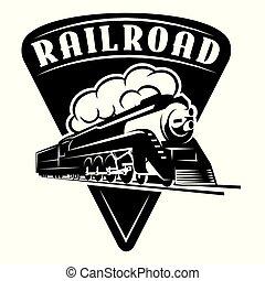 vetorial, modelo, com, um, locomotiva, vindima, trem