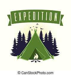 vetorial, modelo, logotipo, campfire, aventura, acampamento, expedição, montanha