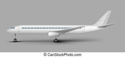 vetorial, modelo, passageiro, vista, lado, avião