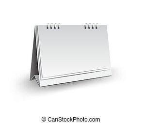 vetorial, modelo, vertical, mockup, escrivaninha, ilustração, isolado, desenho, realístico, papel, fundo, em branco, branca, em branco, calendário, 3d