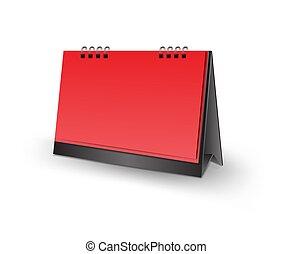 vetorial, modelo, vertical, mockup, escrivaninha, ilustração, isolado, realístico, papel, fundo, em branco, calendário, em branco, desenho, vermelho, 3d
