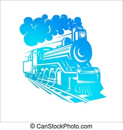 vetorial, modelos, com, um, locomotiva, vindima, trem, logotype, illustration.
