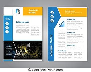 vetorial, modernos, folheto, com, azul, amarela, desenho, abstratos, voador, com, tecnologia, experiência., esquema, template., cartaz, com, projeto flecha, revista, cover.