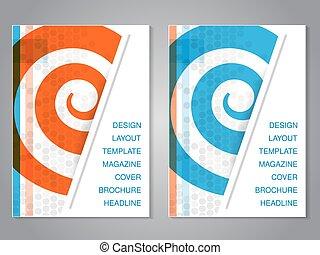 vetorial, modernos, folheto, com, desenho espiral, voador,...