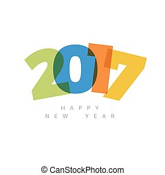 vetorial, modernos, minimalistic, feliz ano novo, cartão