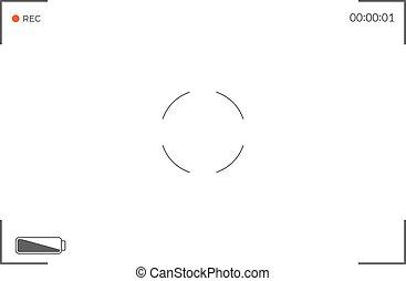vetorial, modernos, screen., ilustração, recording., câmera, pretas, focalizar, viewfinder, branca